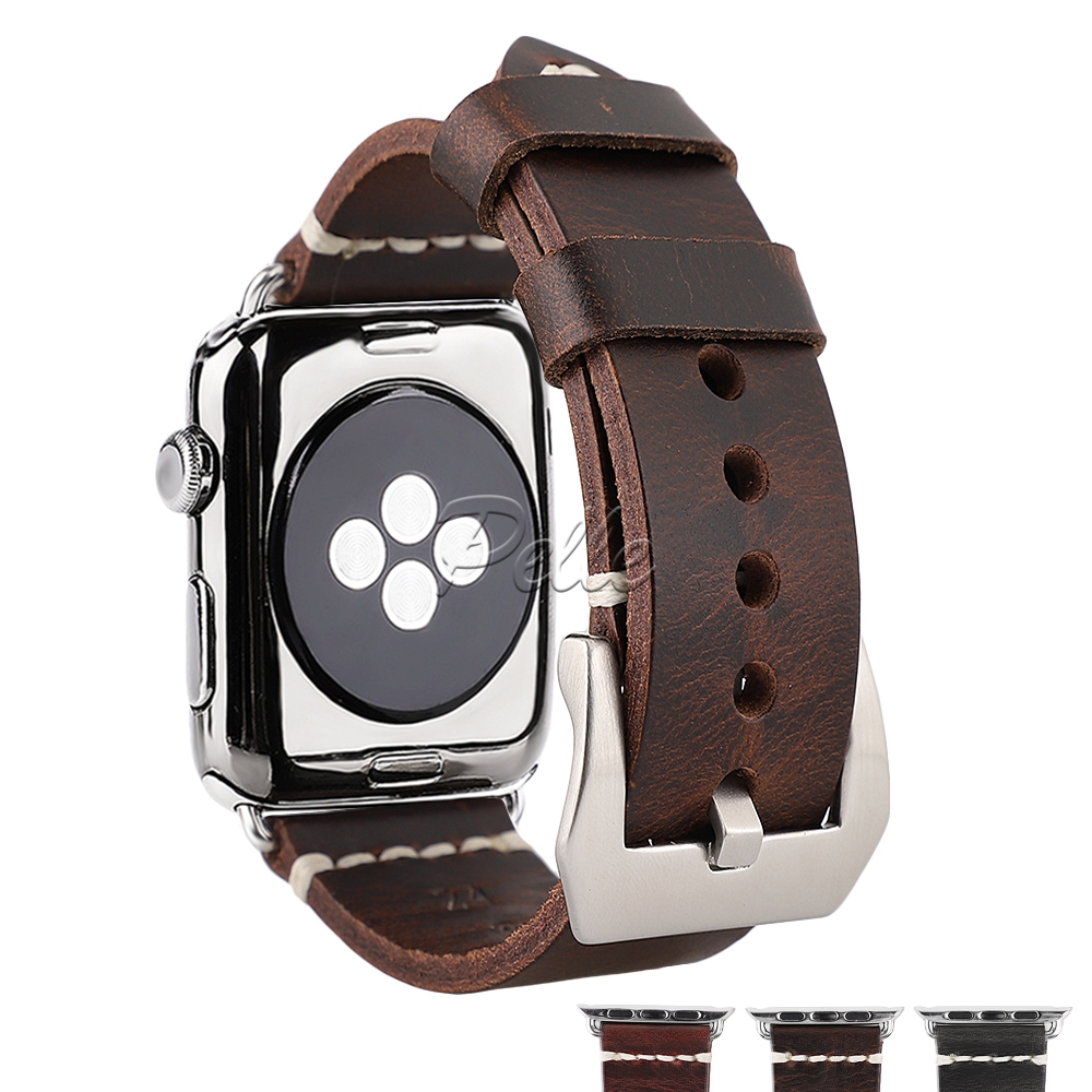 Pelle New Red Oil Wax Leather Watch Watchband For Apple Watch Bands 38mm 40mm 42mm 44mm iWatch Bracelet with Silver Buckle in Watchbands from Watches