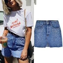 43f1792160 Primavera Azul Casual Split perlas faldas de cintura alta de mujeres botón  Delgado diamante 2018 Mini falda verano Streetwear .
