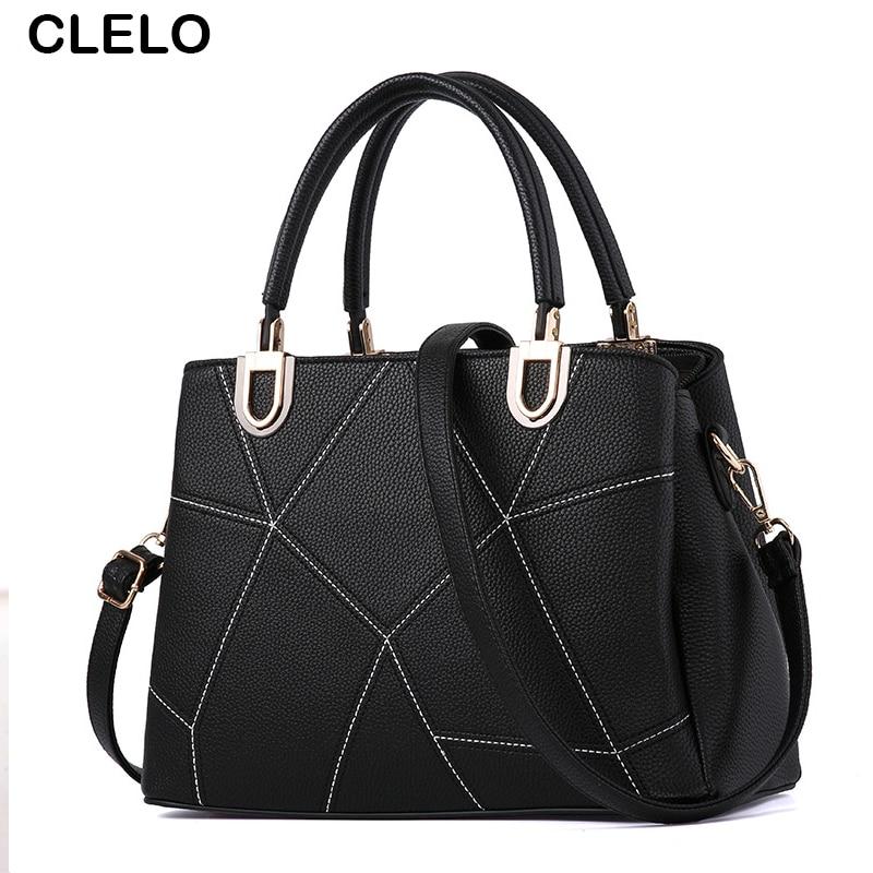 ФОТО CLELO Brand Women Tote Bag  Fashion High Quality PU Handbag Solid Shoulder High Capacity Women Messenger Bags