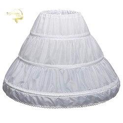 3 Три обручи детская комбинация трапециевидной формы с кружевной отделкой; Цвет белый; детская юбка-американка для детей платье с цветочным ...