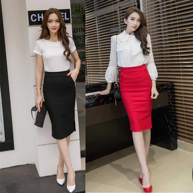 38b0b2f9aad ... Elegant High Waist Pencil Skirts Women Plus Size Bodycon Open Slit  Ladies Office Skirt Casual Ol ...