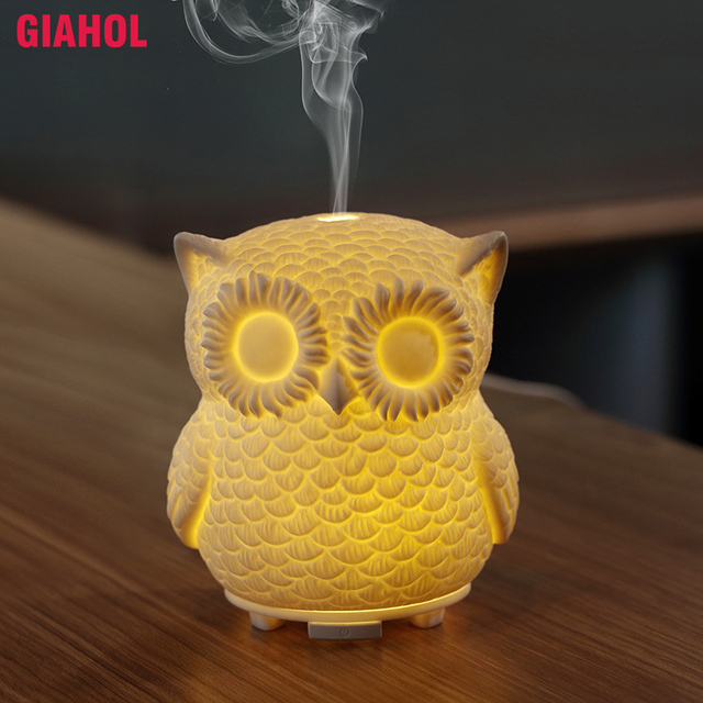 Creative owl Ultrasonic Essential Oil Diffuser Mini USB Air Humidifier Aromatherapy LED Light Aroma Diffuser For Home Office Car