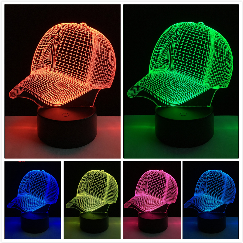 Baseball Cap 3D LED Night Light Sports Hat Table Lamp USB 7 Colorful Gradient Atmosphere Sleep Lighting Kids Gifts Drop Shipping
