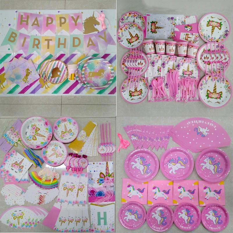 WEIGAO 4-20 Kids Birthday Disposable Tableware Set Unicorn Tablecloth For  Unicornio Party Baby
