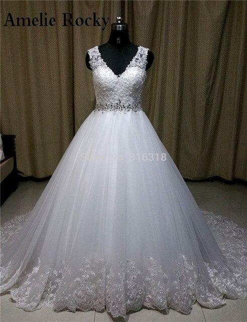 c47c9bdc69ae Настоящее Невеста Sexy v-образным вырезом Винтаж со стразами свадебное  платье 2018 Свадебные платья скромный