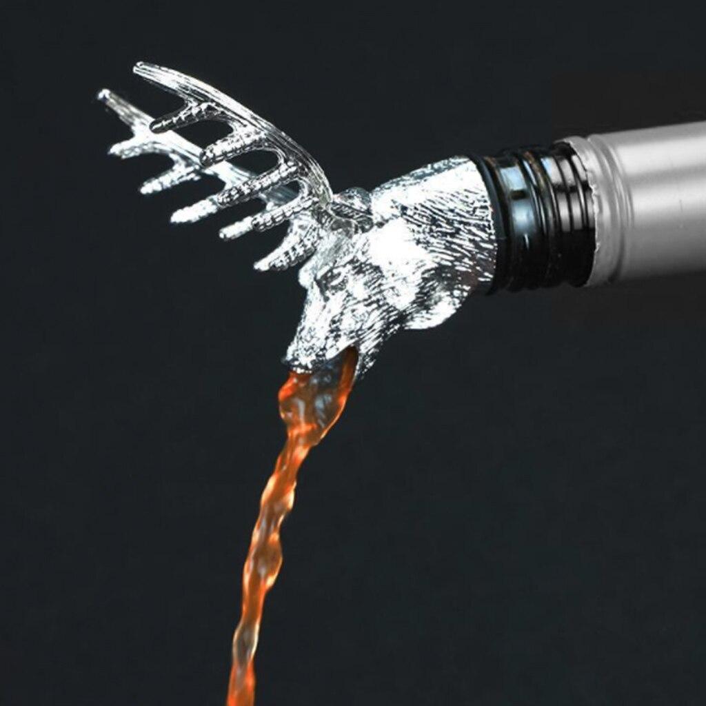 Yeni Paslanmaz Çelik Geyik Geyik Kafası Şarap Likör Ruhu Dökücü Benzersiz Şarap şişe tıpaları Şarap Havalandırıcılar Bar Araçları Sıcak Satış