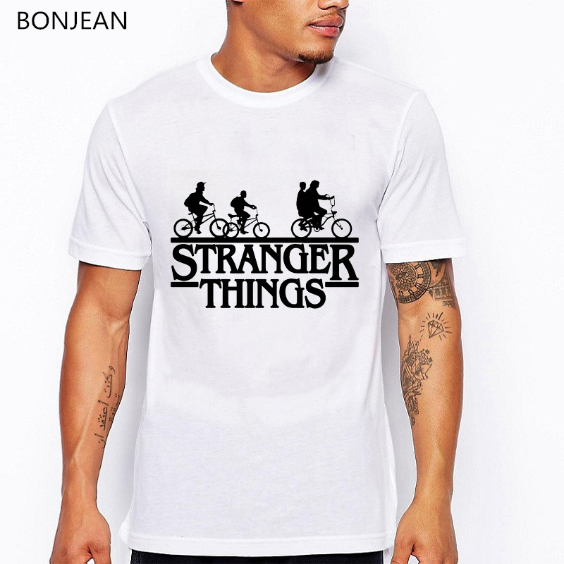 High quality Stranger things 3 t shirt men funny t shirts letters bicycle trees print tshirt homme anime white summer shirt tops in T Shirts from Men 39 s Clothing
