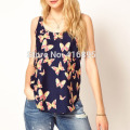 Summer Women Butterfly Print Sleeveless Casual Chiffon T-Shirt Tank Tops