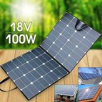 Складная 100 Вт 18 В Панели солнечные Зарядное устройство 100 Вт Складной гибкие солнечные модуль сотового комплект Портативный Открытый Отдых
