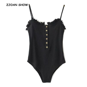 2019 New Sexy Open Button Ruffles Backless Spaghetti Strap Bodysuit Woman Sling Tight Short Jumpsuit Slim fit Rompers Playsuits 1
