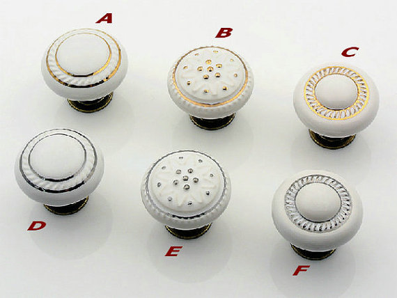 Kitchen Cabinet Knobs Porcelain Knobs Dresser Knob Drawer Handles White  Ceramic Gold Silver Furniture Knob Handle