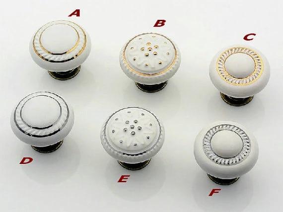 Porcelain Knobs Dresser Knob Drawer Knobs Pulls Handles White Ceramic Silver Kitchen Cabinet Knobs  Furniture Knob Handle Pull Hardware