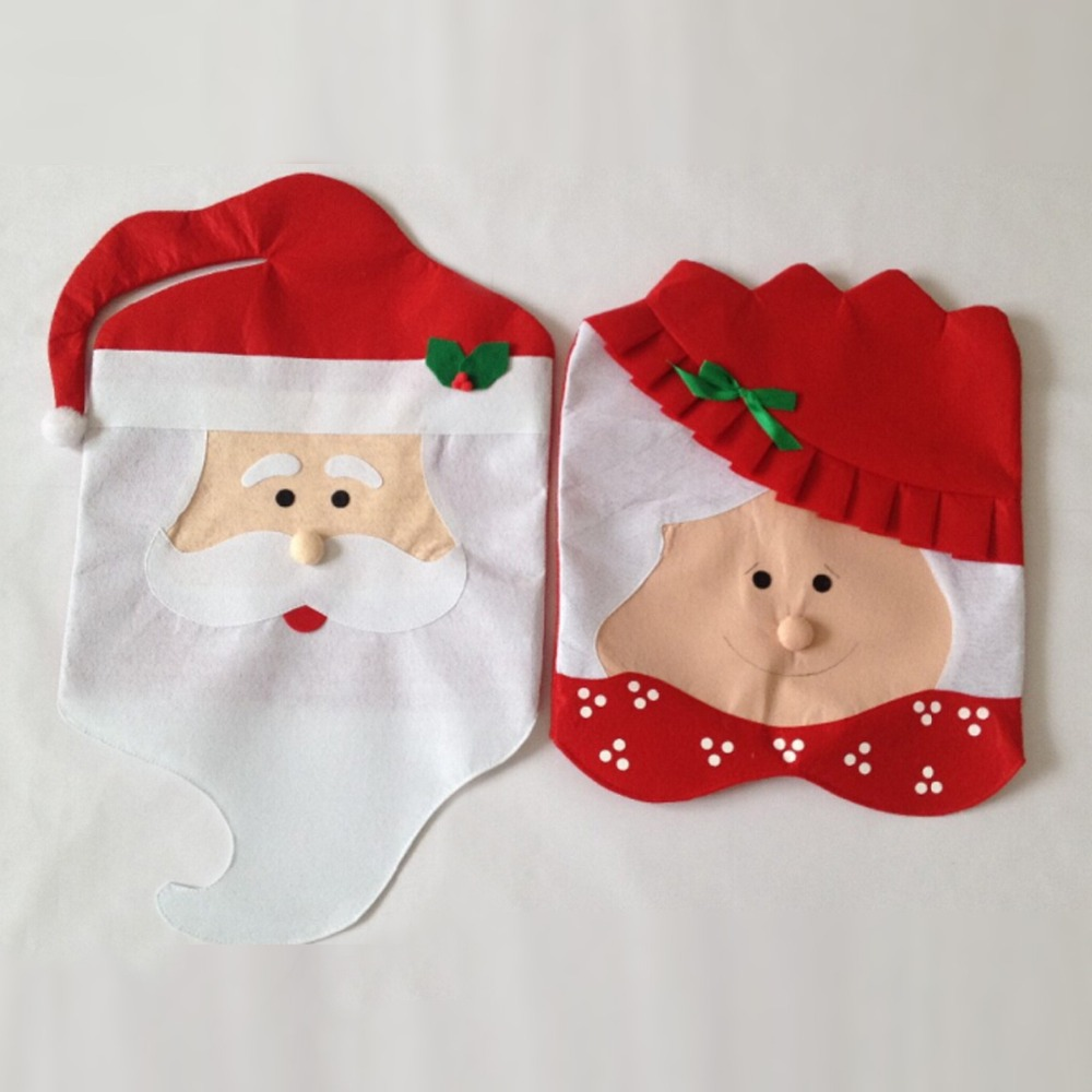 2 Pcs Lot Christmas Accessories Santa Claus Seat Cover Dinner Table Party Decor For Chair Backs Free Shipping On Aliexpress