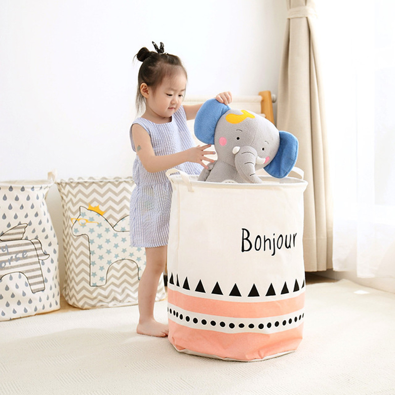 2018 Waterproof Dirty Clothing Laundry Basket Folding Toy Clothes Laundry Basket Linen Cotton Bra Storage Box Bag Organizer