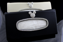 Crystal Cartoon Car Tissue Box Sun Visor Diamond PU Leather Auto Tissue Bag Sunvisor Hanging Holder Case Car Accessories biety am 13 multifunctional alligator pu leather car sunvisor sunshade tissue box case cd holder