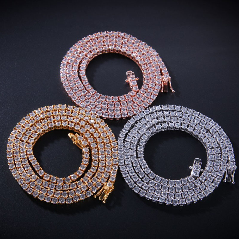 S925 Material Hip Hop Bling Iced Out Cubic zirconia Tennis Chain Necklace 1 Row AAA CZ Stone Chokers Necklaces Men Women JewelryS925 Material Hip Hop Bling Iced Out Cubic zirconia Tennis Chain Necklace 1 Row AAA CZ Stone Chokers Necklaces Men Women Jewelry