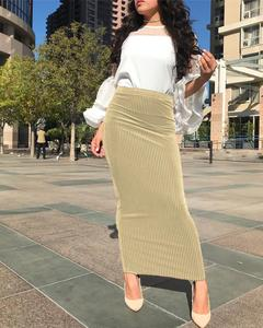 Image 5 - Muslim Women Skirt Bodycon Slim Stretch Long Maxi High Waist Pencil Dress Sheath Bottoms Islamic Ankle Length Arab Middle East