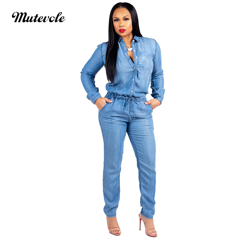 Mutevole Plus Size Denim Jumpsuit Women Long Sleeve Blue Jean