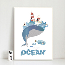 Cute Cartoon Sea Blue Whale Children's room Canvas Painting Art Abstract Print Poster Picture Wall Living Room Home Decoration