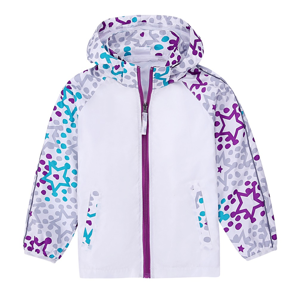 ФОТО 2016 New Girls' Autumn Jackets Kids Print  Warm Outwear Children Polyester Winter Hooded Coat Safety  Cursor
