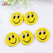 PF 10pcs Cartoon Badges Smile Brooches for Kids Children Cute Yellow Color Badges for Clothes Skirts Decoration Accessories