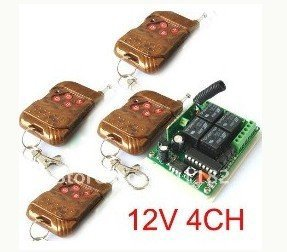 Factory Price #Free Shipping DC12V 4CH RF Wireless Remote Control Switches System 1 receiver &4 remote controller 315MHZ/433MHZ free shipping new factory original remote control rc003pm for marantz cd av amplifier