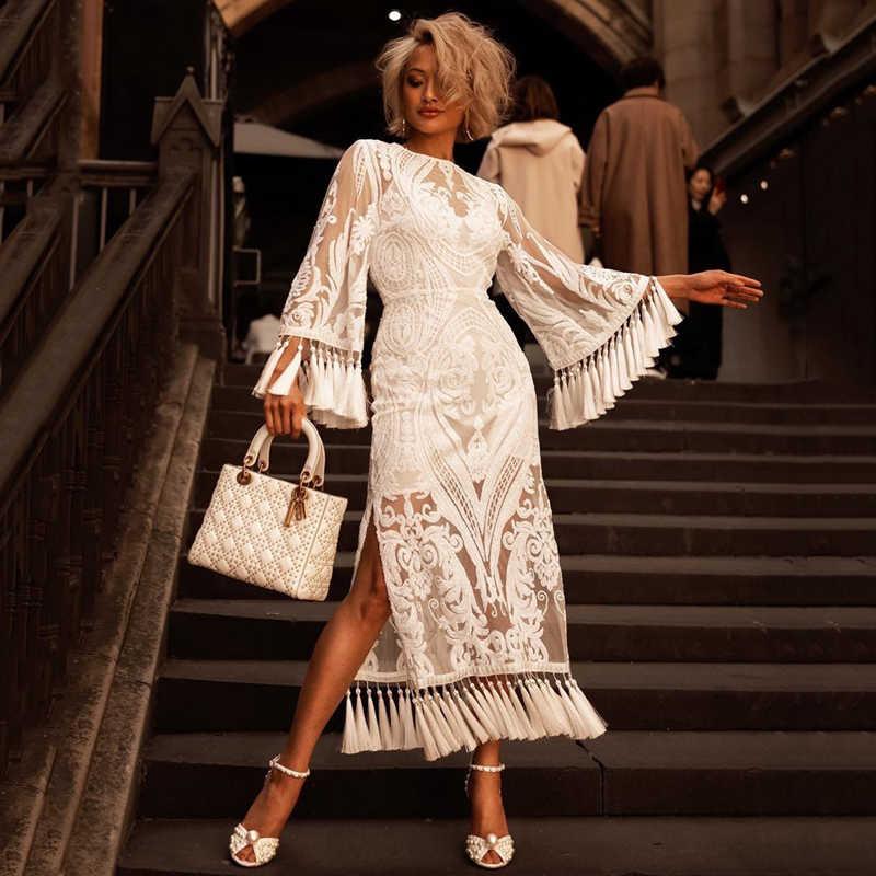 Beateen/Белое Сетчатое платье до середины икры с вышитыми блестками и цветочным принтом; Бандажное платье с длинными рукавами и кисточками в индийском народном стиле с круглым вырезом; Новая мода