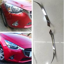 Lapetus Front Head Lights Lamp Eyelid Eyebrow Strip Cover Trim Fit For Mazda 2 Demio 2015 - 2019 Accessories Exterior Refit Kit