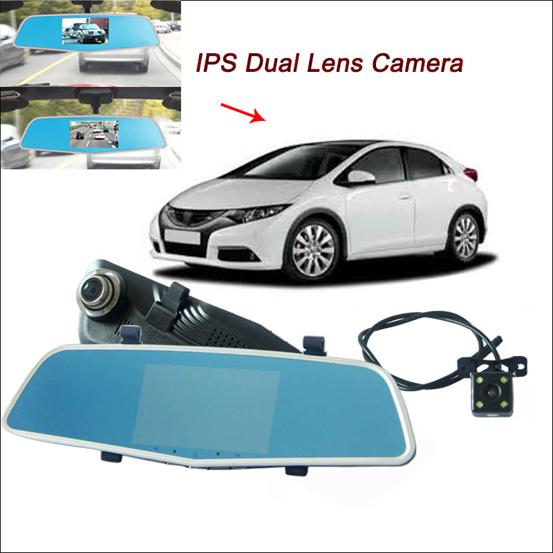 BigBigRoad For honda civic Car DVR With Two Cameras Rearview Mirror Video Recorder Novatek 96655 5 inch IPS Screen dash cam