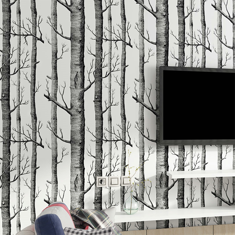 Black White Birch Tree Wallpapers for Living Room Modern Bedroom Wall Covering Roll Rustic Forest Woods 3D Wallpapers Home Decor beibehang modern luxury circle design wallpaper 3d stereoscopic mural wallpapers non woven home decor wallpapers flocking wa