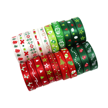 """12yards 3/8"""" 10mm Mixed Random 12styles Printing Grosgrain & Satin Trim Ribbons Christmas DIY Wrapping Art Decoration 040048007"""