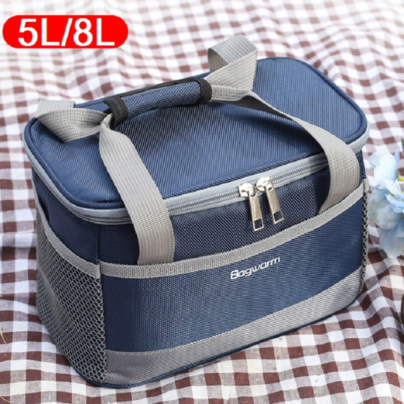 5L/8L Portable Oxford waterproof cooler bag picnic thermal insulated ice pack fresh thermo food cool cans lunch box totes5L/8L Portable Oxford waterproof cooler bag picnic thermal insulated ice pack fresh thermo food cool cans lunch box totes