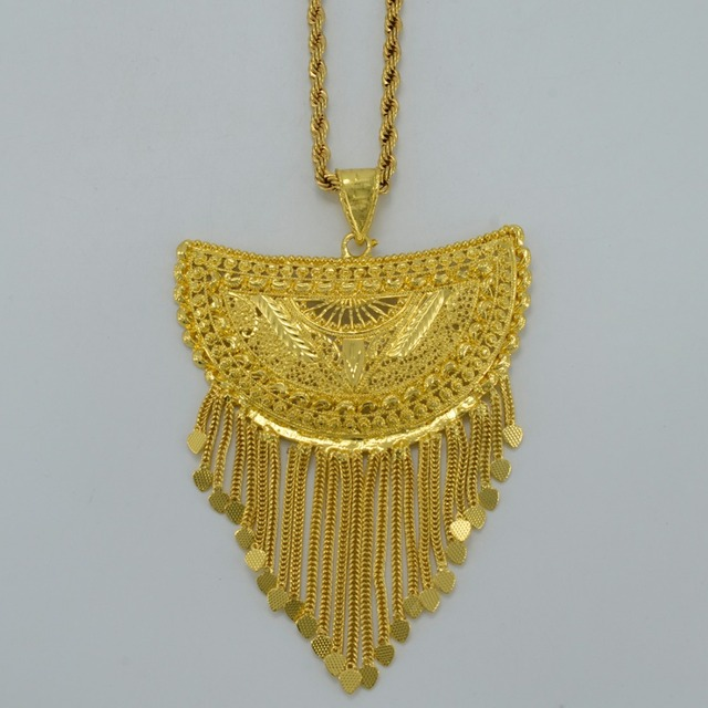 Very Big Africa Pendant Necklaces for Women Gold Plated Necklace Ethiopian/Nigeria/Congo/Sudan/Ghana/Arab Jewelry #054506