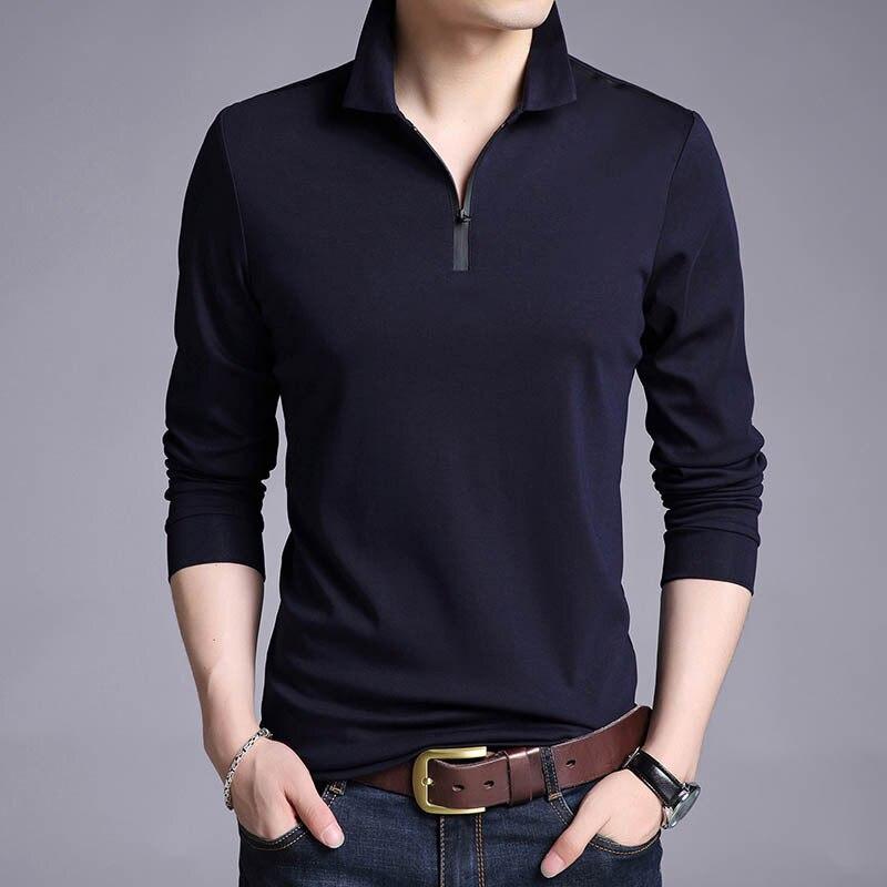bb8a9b5b33 LEDINGSEN Spring New Fashion Men Red Polo Shirt Zipper Up Slim Fit Polo  Mens Long Sleeve Cotton Casual Polos Shirt Plus Size 3XL