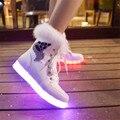 2016 de pelo de conejo hembra zapatos luminosos zapatos zapatos fluorescentes blanco botas de nieve zapato luz de carga LED luces de colores UBS