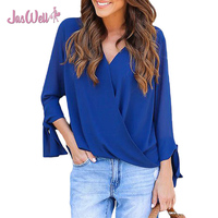 JasWell Fashion Women S Casual Summer Ladies Chiffon Ruffle V Neck Fold Open Fork Blouses Three