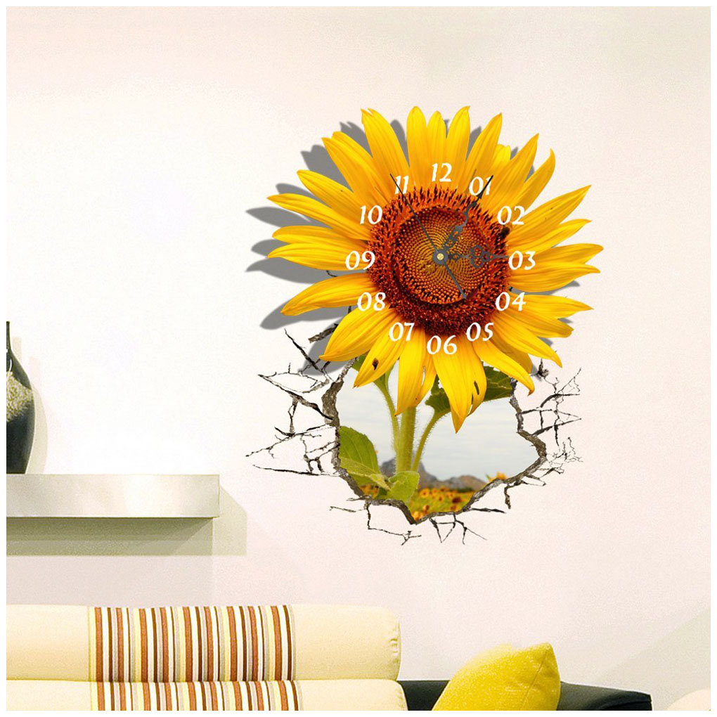 Perfect-DIY 3D Art Wall Sticker Sunflower Clock Sticker Office Home Wall Decor Gift 18x15 flower bridge river pattern 3d wall art sticker