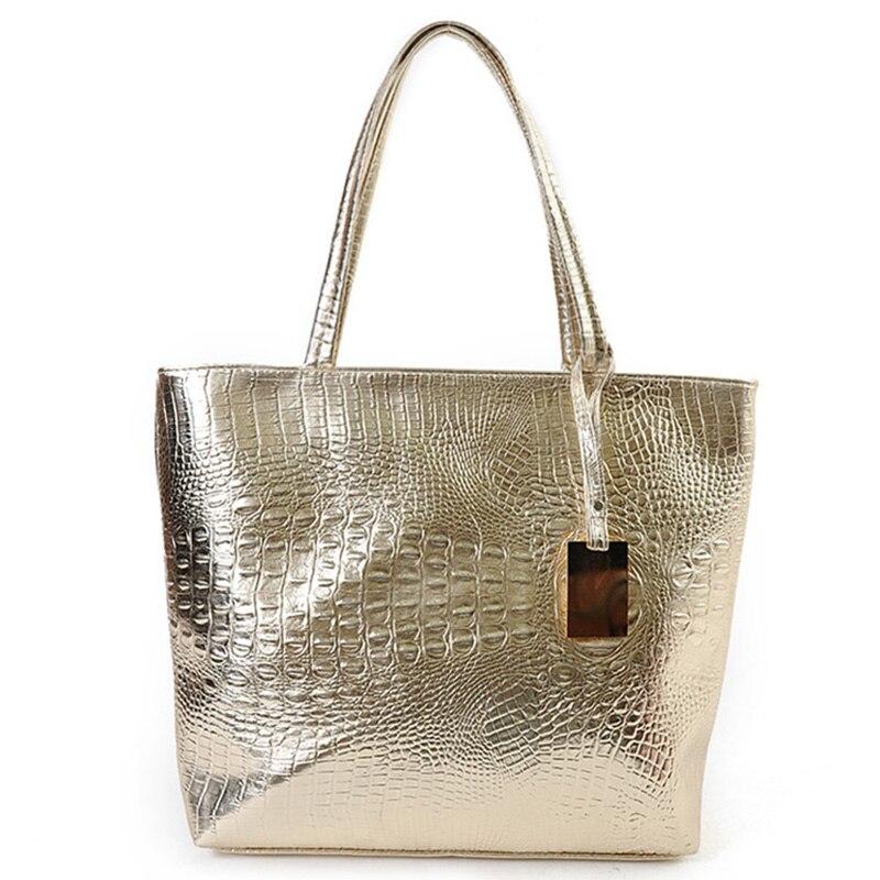 Brand Fashion Casual Women Shoulder Bags Silver Gold Black Crocodile Handbag PU