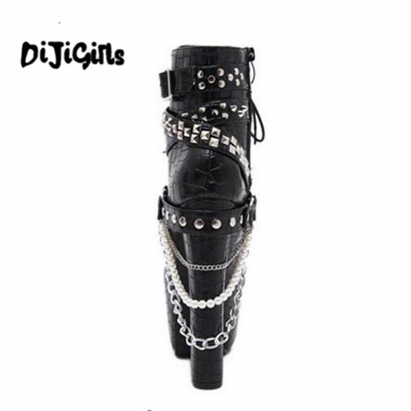 En Biker Rivet Rock Zip Hauts Bottes Gothique Chaussures Moto Chaînes Color Bottines 1 Métal Talons Super Plateforme Punk 1wZCrdqwf