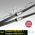 """Limpiaparabrisas para Peugeot 208 (a partir de 2012) y 2008 (a partir de 2013) 26 """"+ 16"""" ajuste de botón tipo wiper armas solamente HY-011"""