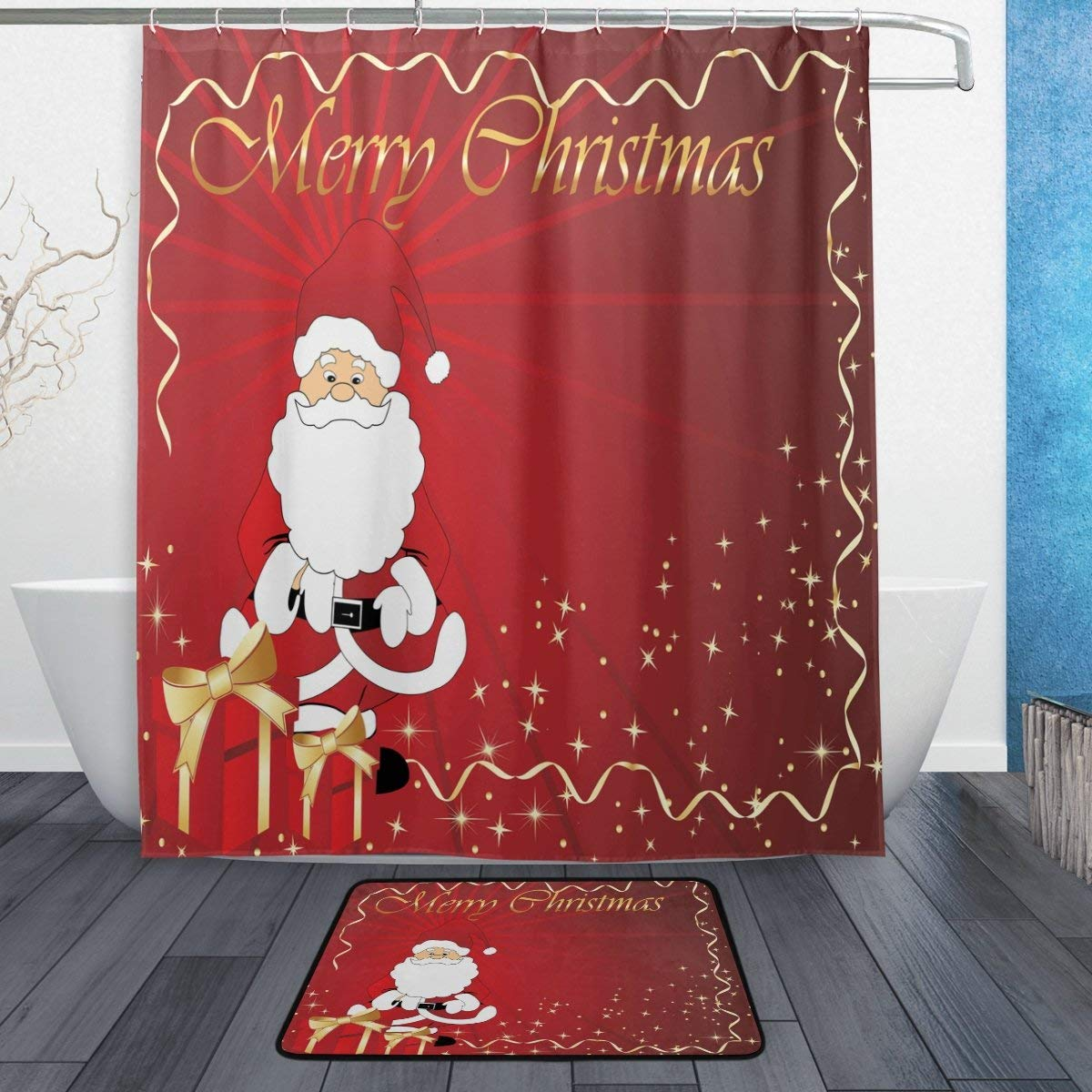 Floor Decor Coupons: Merry Christmas Santa Claus Waterproof Polyester Fabric