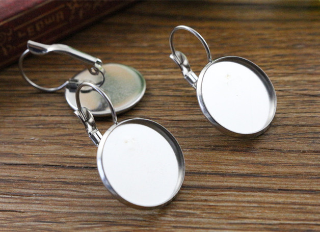 ( No Fade ) 16mm 10pcs Stainless Steel French Lever Back Earrings Blank/Base,Fit 16mm Glass Cabochons,Buttons-M4-31 mibrow 10pcs lot stainless steel 8 10 12 14 16 18 20mm blank french lever earring tray cabochon setting cameo base jewelry