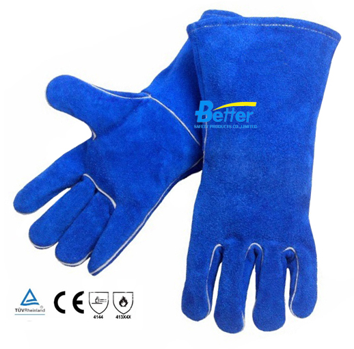 Leather Welding Glove Leather TIG MIG Welder Glove Comfoflex Blue DBL Split Cow Leather Work Glove цена и фото