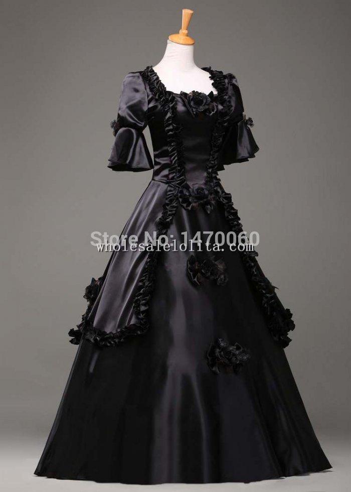 18e Eeuw Gothic Zwarte Vintage Baljurk Theater Kleding Halloween Kostuum Minder Duur