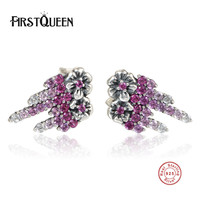 FirstQueen Presents 925 Sterling Silver Sparkling Leaves Stud Earrings Pink CZ Fashion Jewelry Special Store