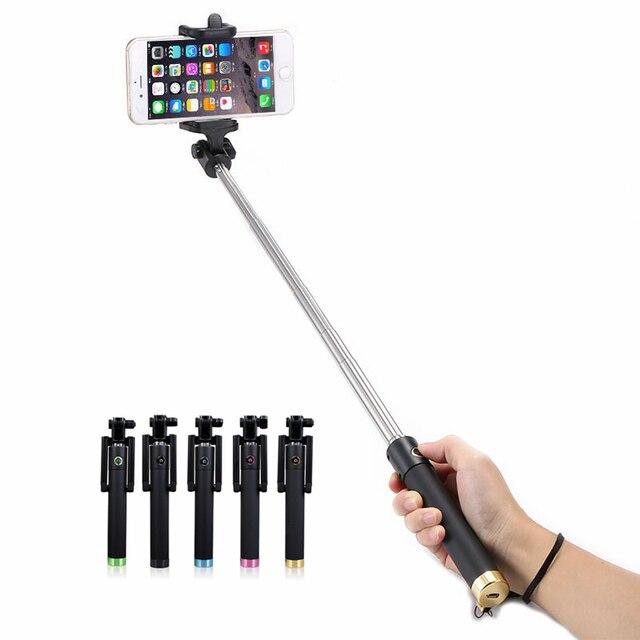 Bluetooth selfieスティックハンドヘルド一脚ステンレス鋼溝パロselfieためのサムスンiphone 7プラス6 6 sアンドロイド電話カメラ