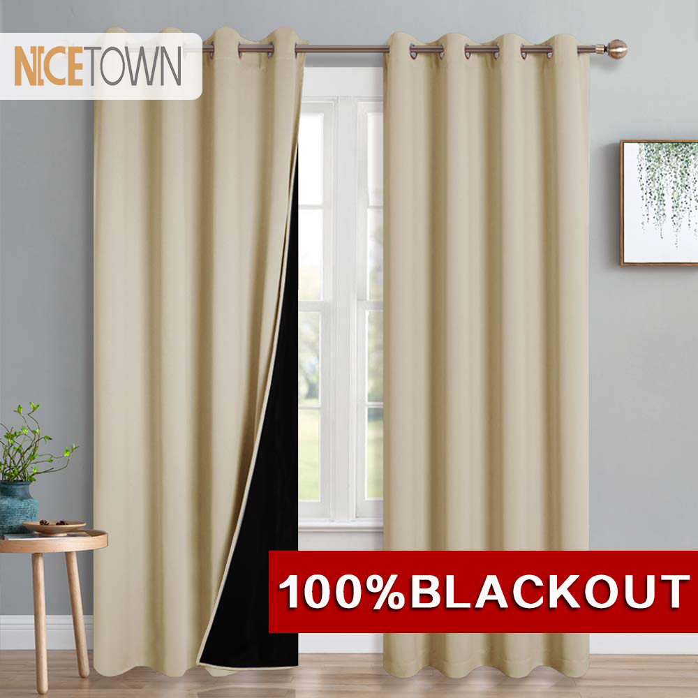 NICETOWN 1 PC 100% Blackout Modern Thermal Fabric Grommet Curtains Drape Drapery For Windows Treatments For Bedroom Decoration