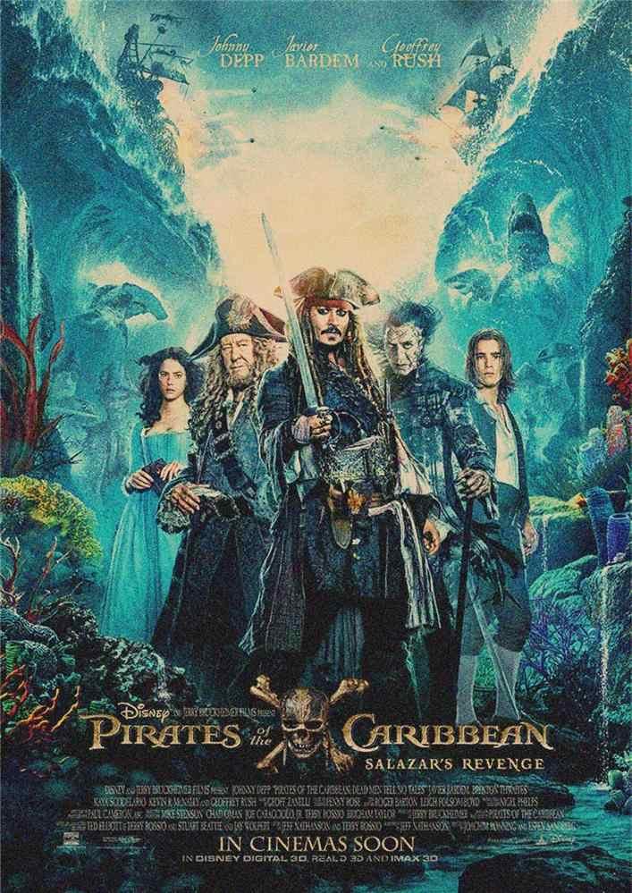 pirates of the caribbean captain jack sparrow johnny depp poster retro bar decorative painting kraft paper wall sticker