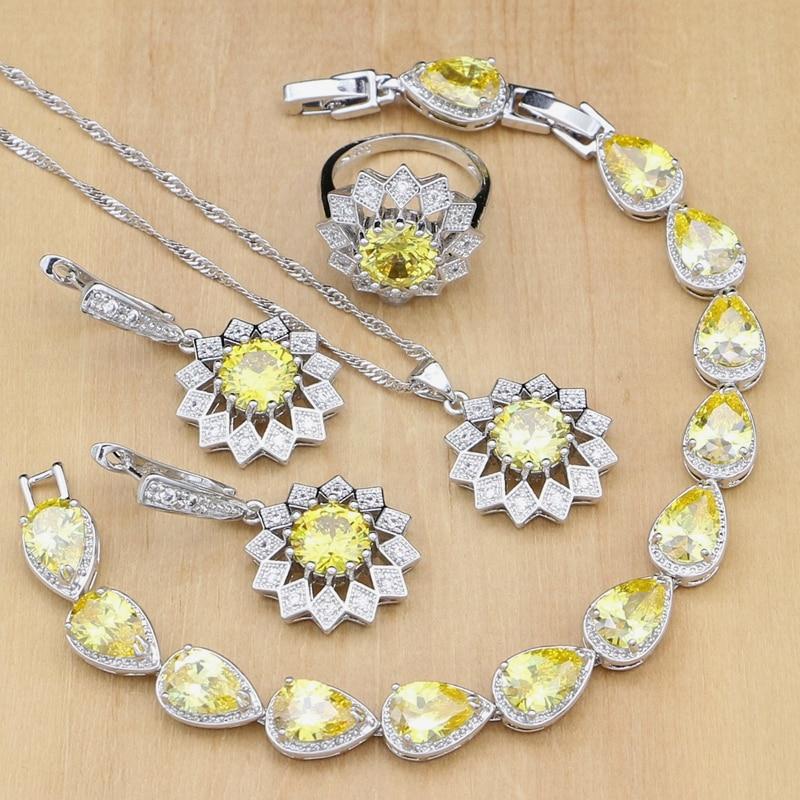 Sunflower 925 Silver Jewelry Sets Yellow Zircon Stones White CZ  For Women Wedding Earrings/Pendant/Rings/Bracelet/Necklace Set
