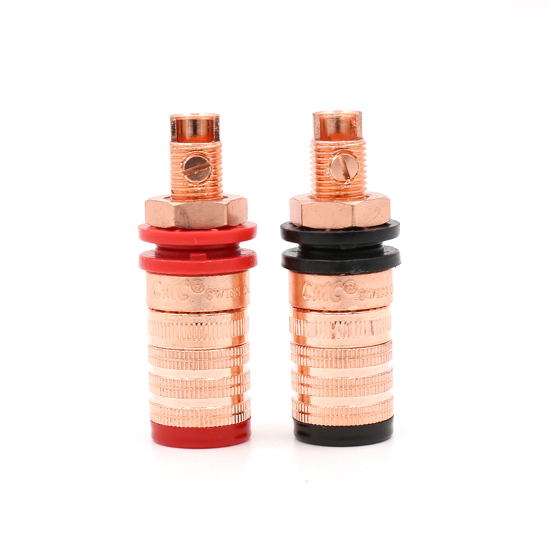 4pcs CMC-838-S-CU-R Pure Copper Conductor Binding Post HIFI Speaker Terminal